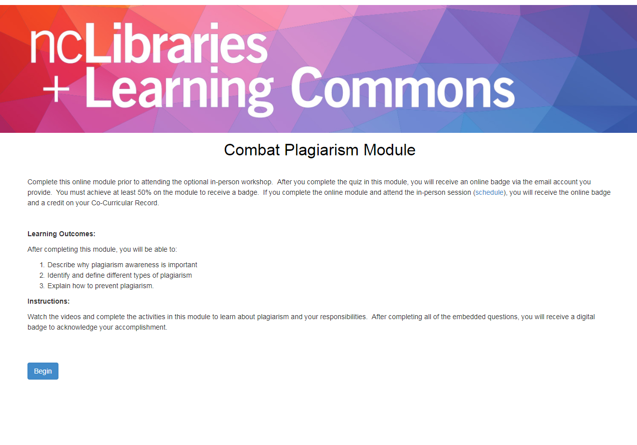 Combat Plagiarism Module Title Screen