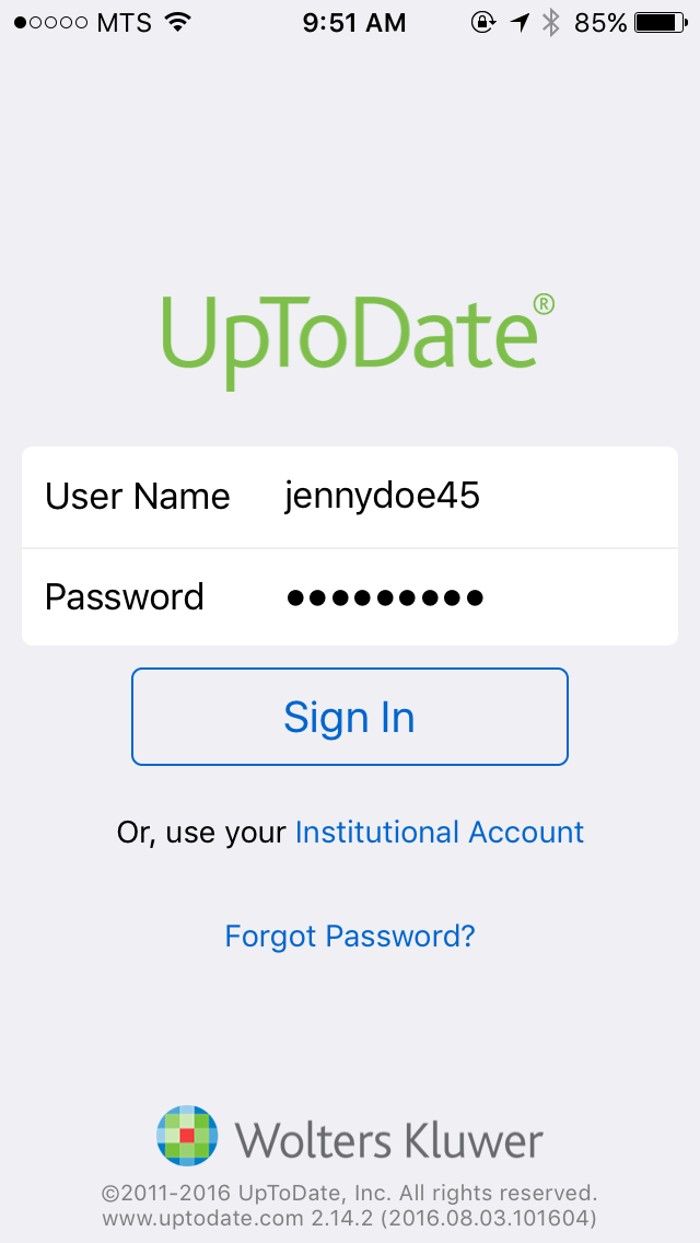 Up to date login and password