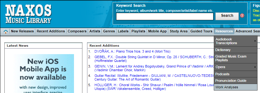 Naxos Music Library work analyses
