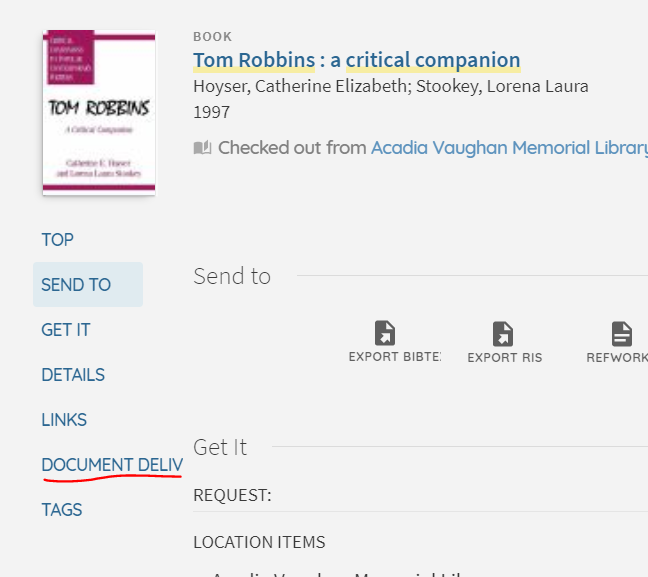 "Screen shot of the left-most column in Novanet item pop-up window, ""document delivery"" option is the second to last link."