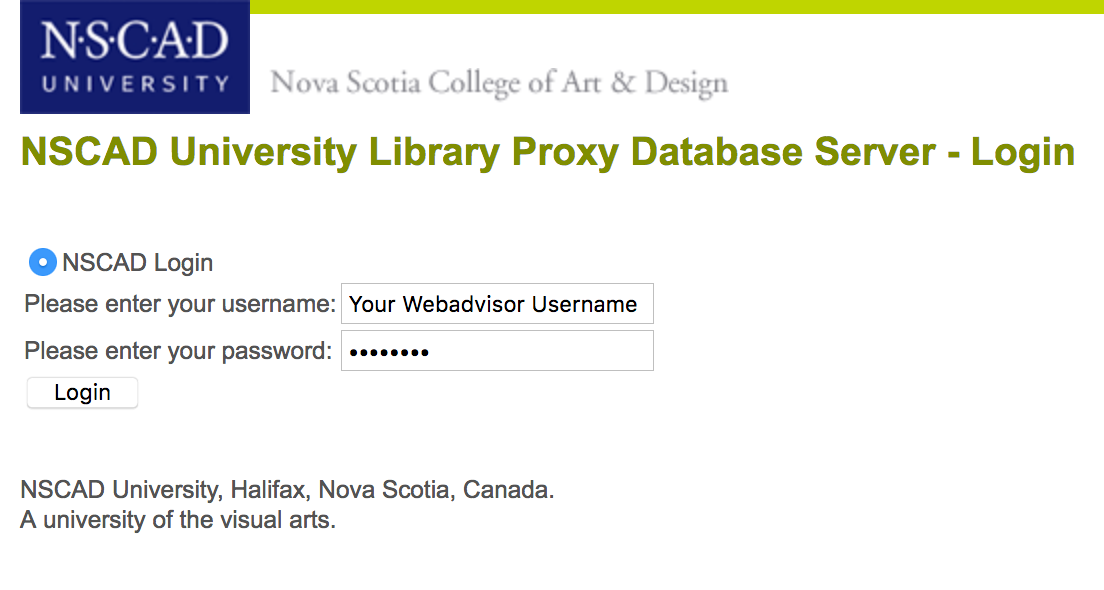 Image of NSCAD Proxy Server Login