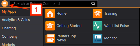 Screenshot of Eikon menu