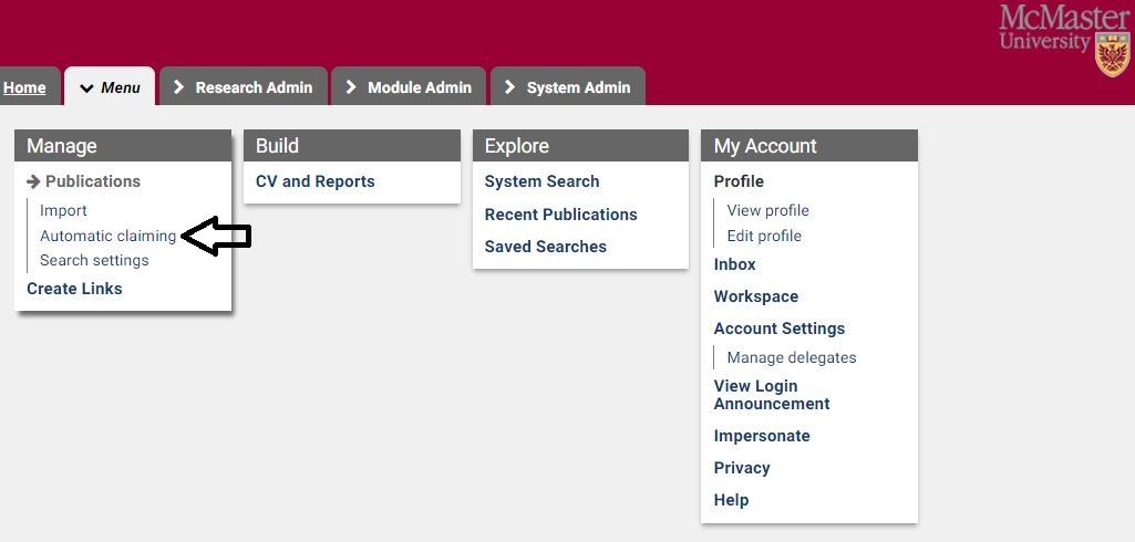 Procedure on how to Navigate to your publishing identities page on the McMaster Research Profile Manager: Contains tabs, columns and list.