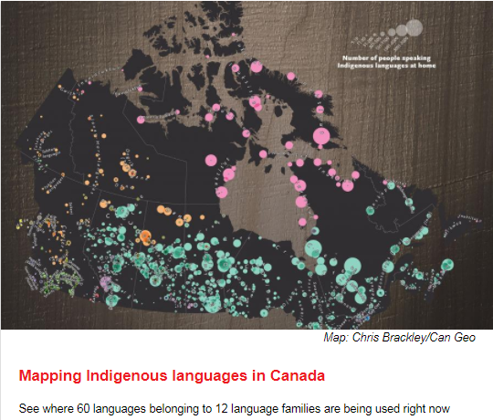 Map of Canada with distribution of groups where Indigenous languages are spoken