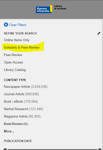 refine your results on the left side of the result page to scholarly peer reviewed journals