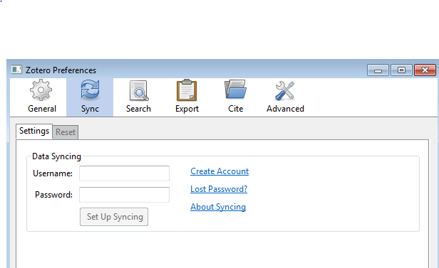 Screenshot of Zotero sync