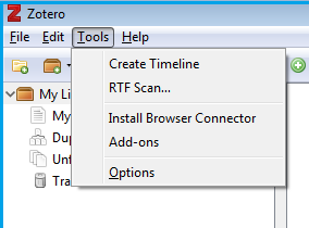 screenshot of zotero options