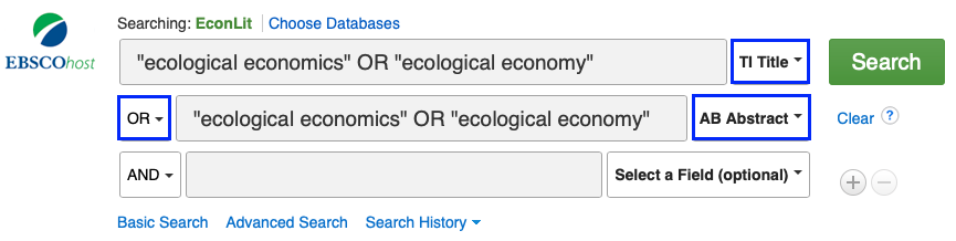 Example search in EconLit in the title and abstract search fields.