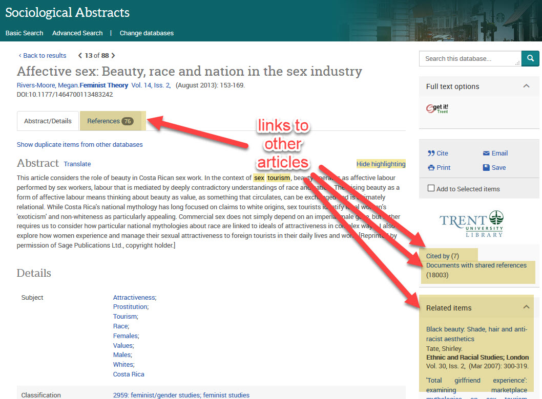 screenshot of Sociological Abstracts full description of an article, with arrows pointing to References, Cited by, Documents with shared references, and Related items