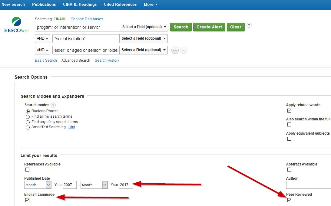 Screenshot of keyword search in CINAHL