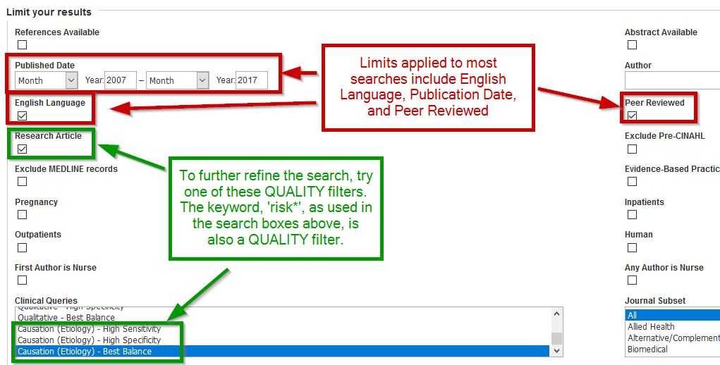 Screen shot of possible limits in CINAHL