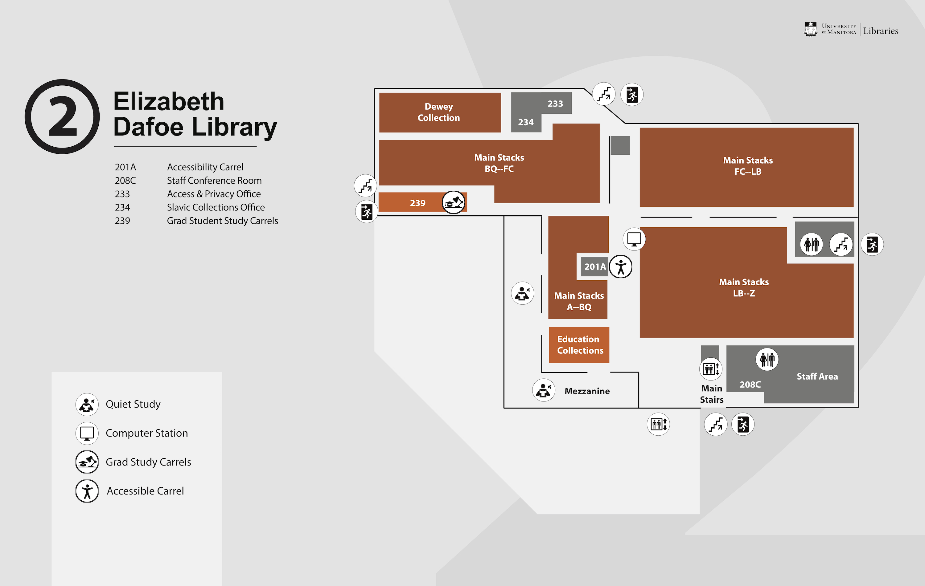 Elizabeth Dafoe Library Floor Plan - Second Floor