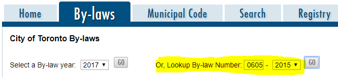 City of Toronto bylaw search page screen shot highlighting bylaw search for 704 Queen St. East