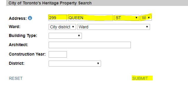 City of Toronto's heritage property search showing search for 299 Queen Street