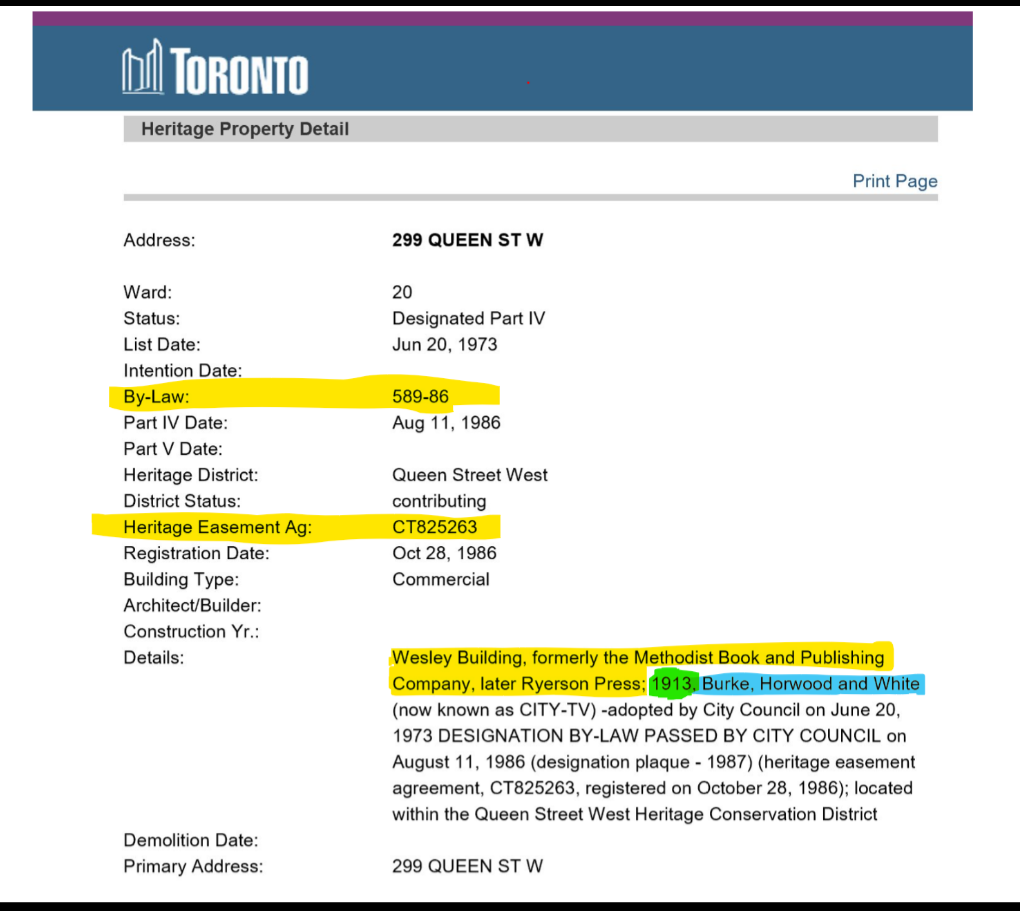 screen shot of the Heritage Property Detail record highlighting bylaw, easement, names, year built and architecture firm