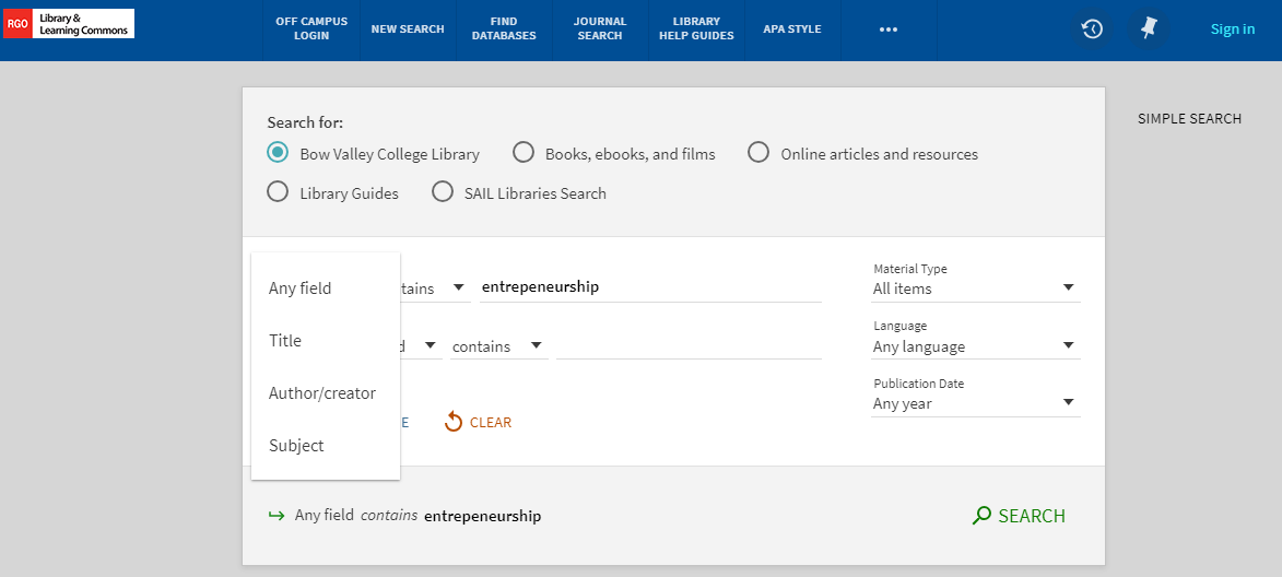 Library advanced search fields