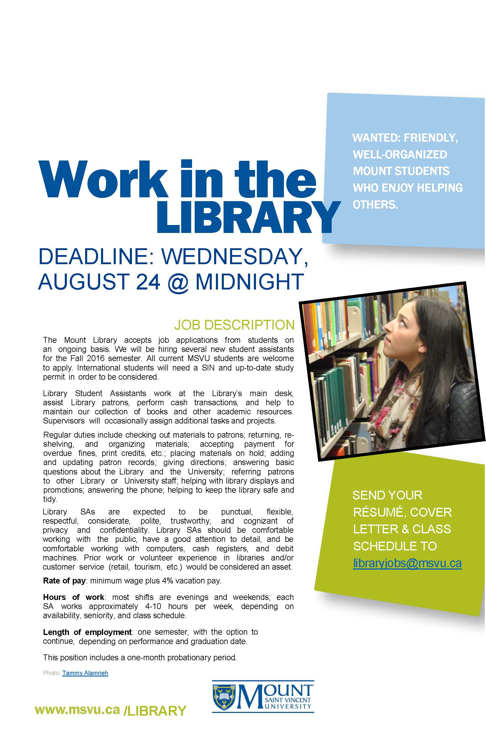 Image of Library Student Assistant Job Poster