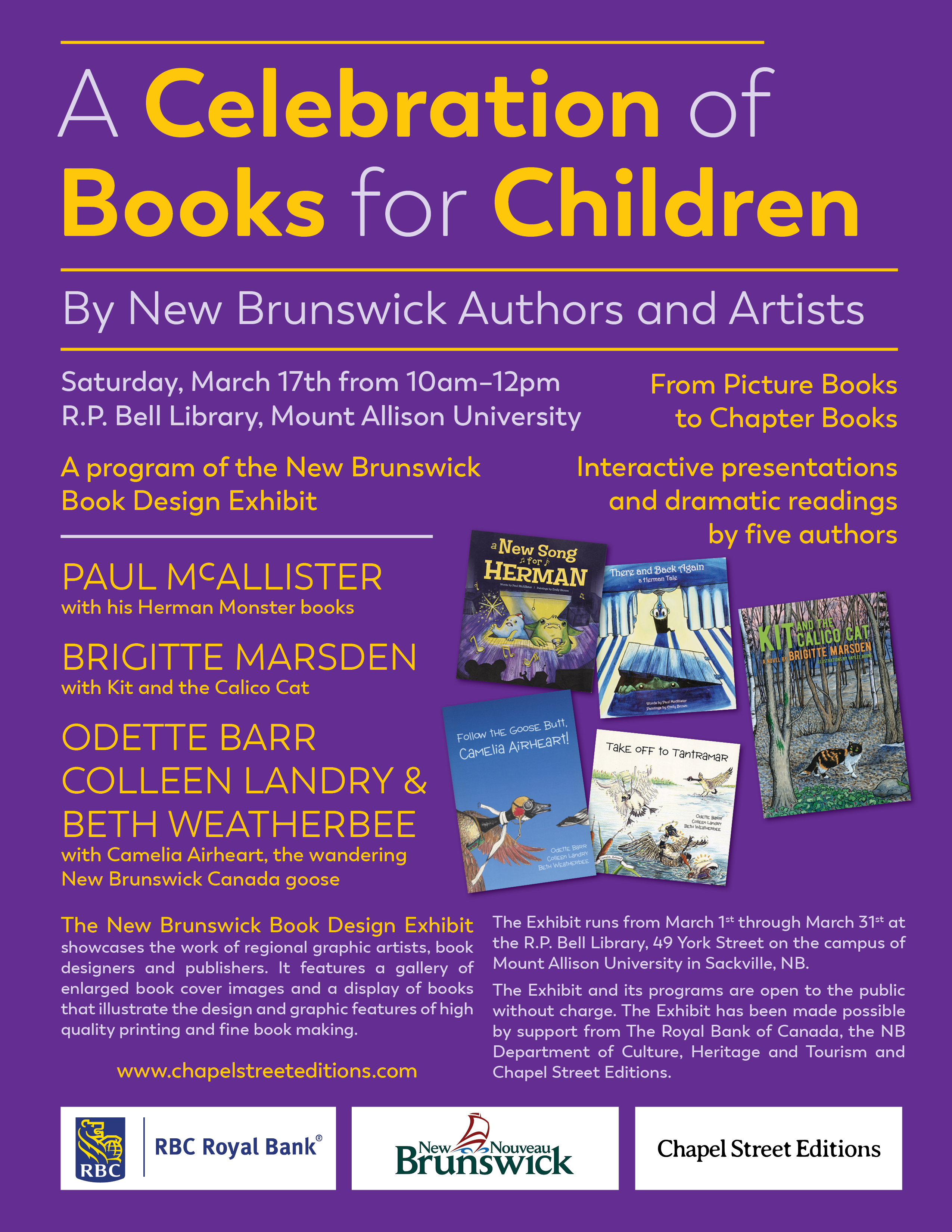 "Poster for ""A celebration of books for children"" event, March 17 2018"