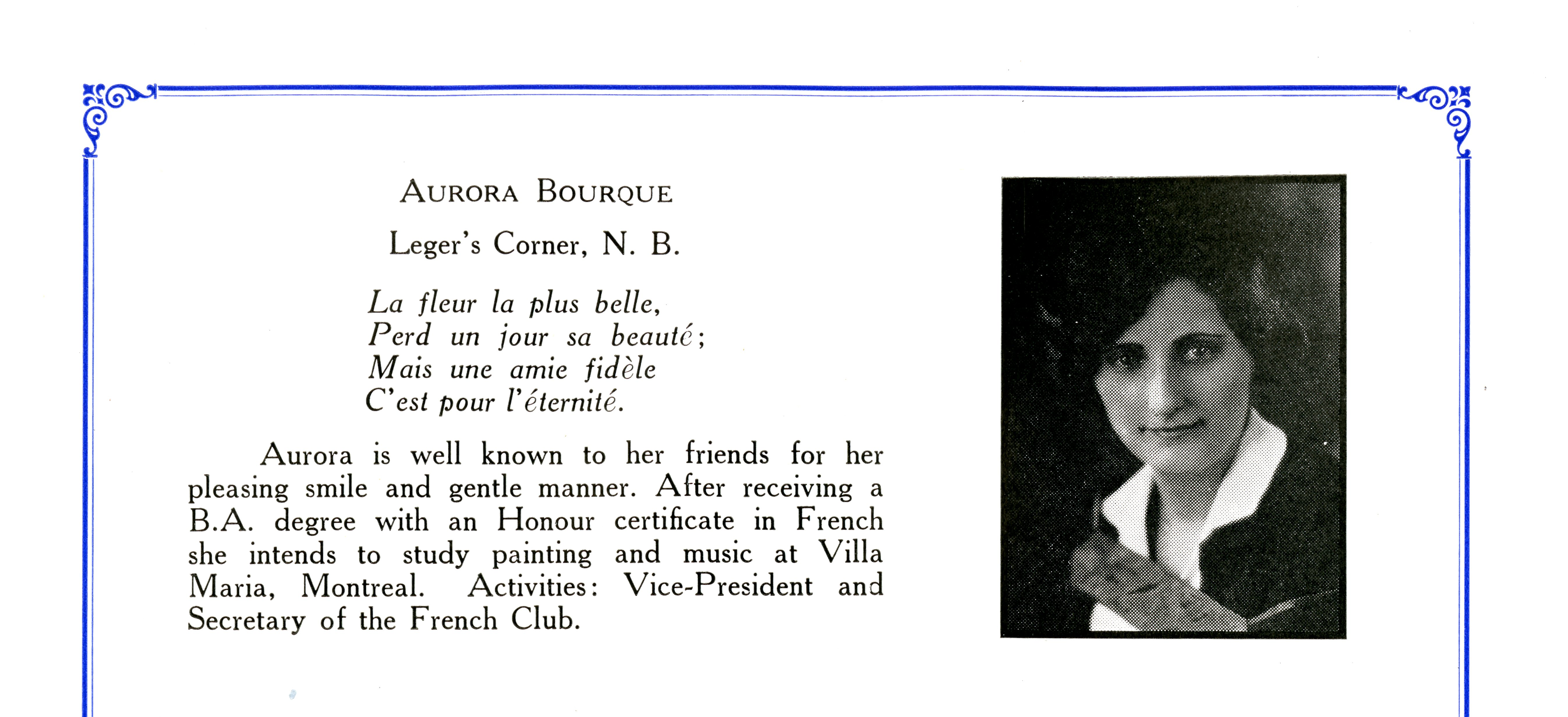 yearbook photo of Aurore Bourque