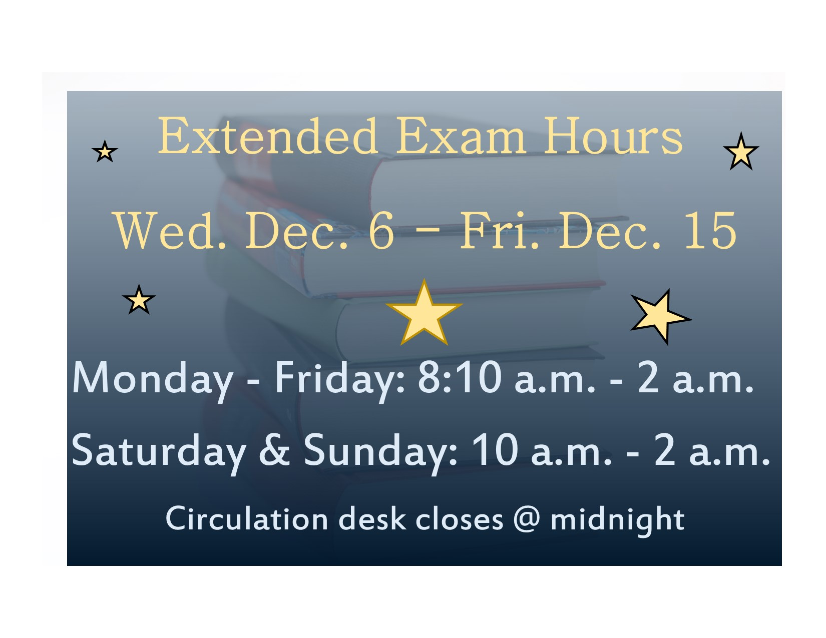 Extended exam hours begin Dec. 6