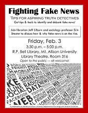 Fighting Fake News, a session Friday Feb. 3 in the Mount A Library