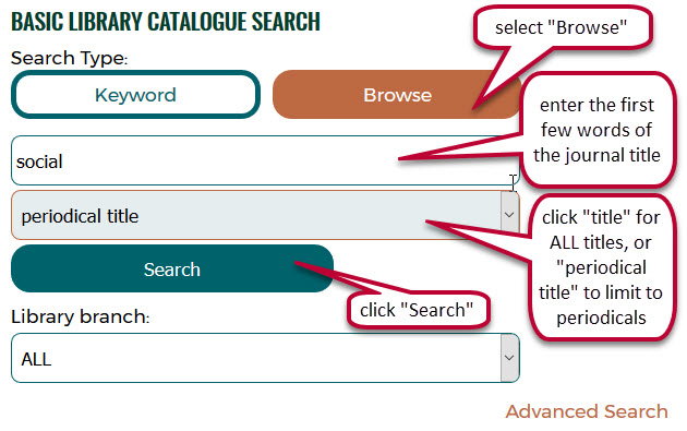 screen capture catalogue search journal title browse