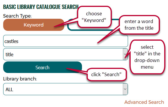 screen capture of catalogue title keyword search