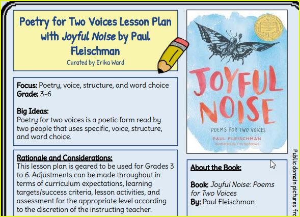 image of lesson plan for Joyful Noise