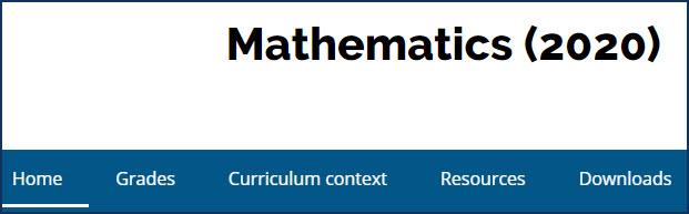Ontario Math Curriculum web pagge
