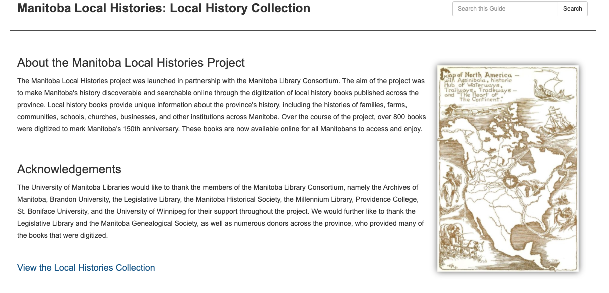 Home page of the Manitoba Local Histories Digital Collection