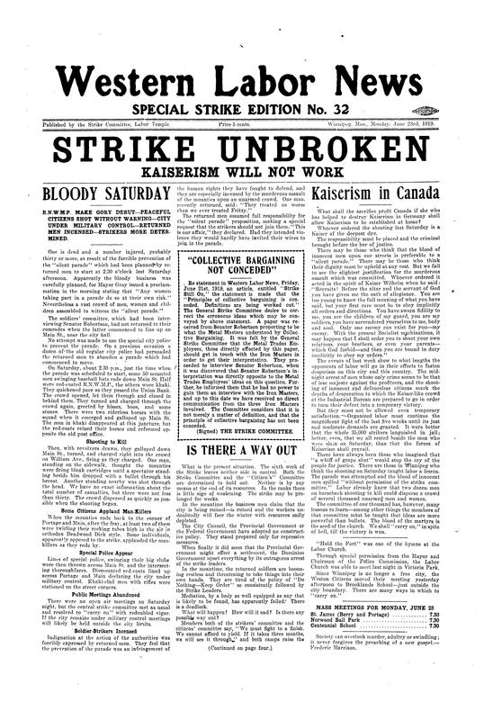 "Western Labor News cover page, reading ""Strike Unbroken"". June 23, 1919."
