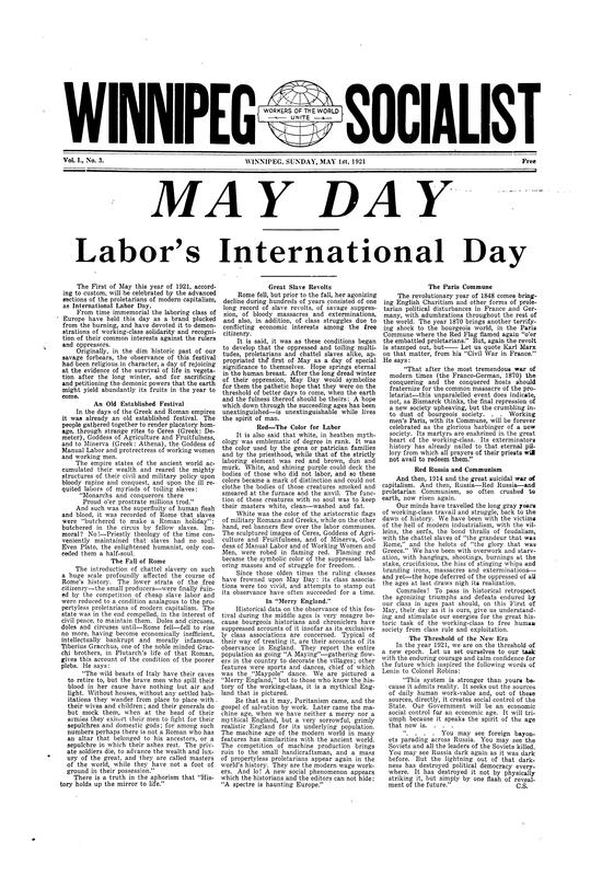 Front page of the Winnipeg Socialist about May Day, Labor's International Day. May 1, 1921
