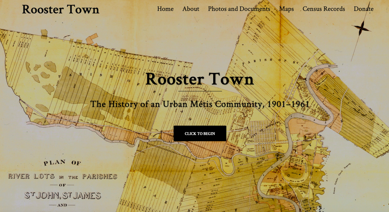 Home page of digital exhibit on Rooster Town
