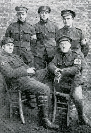 Black and white photo of five University of Manitoba members of the Field Ambulance