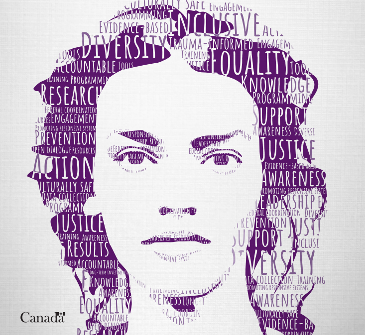 Portrait of woman made out of words from cover of report