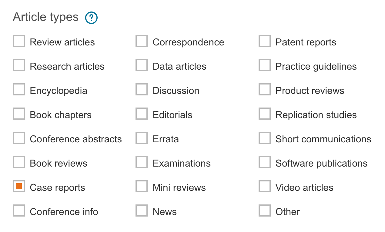 ScienceDirect database screenshot on how to limit searches to case studies.