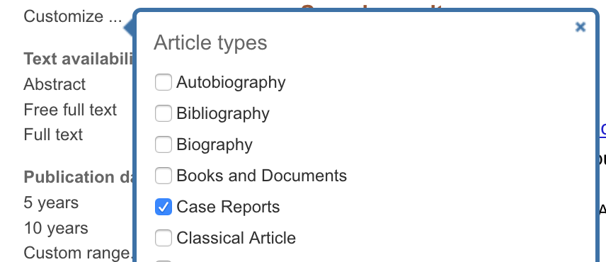 PubMed screenshot showing how to narrow results to case studies.