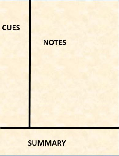 Cornell Notetaking page divided into three sections