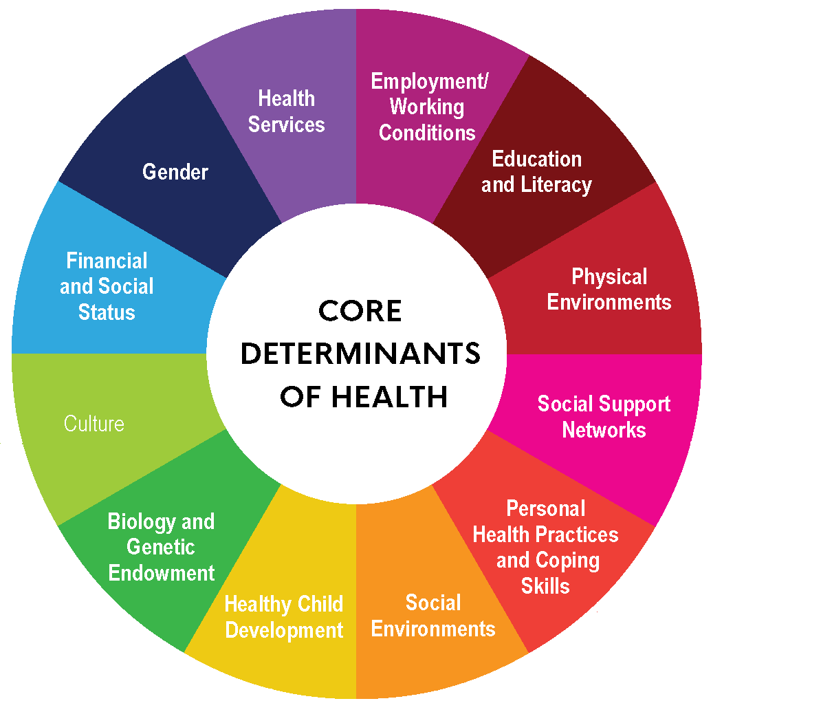Core determinants of health framework