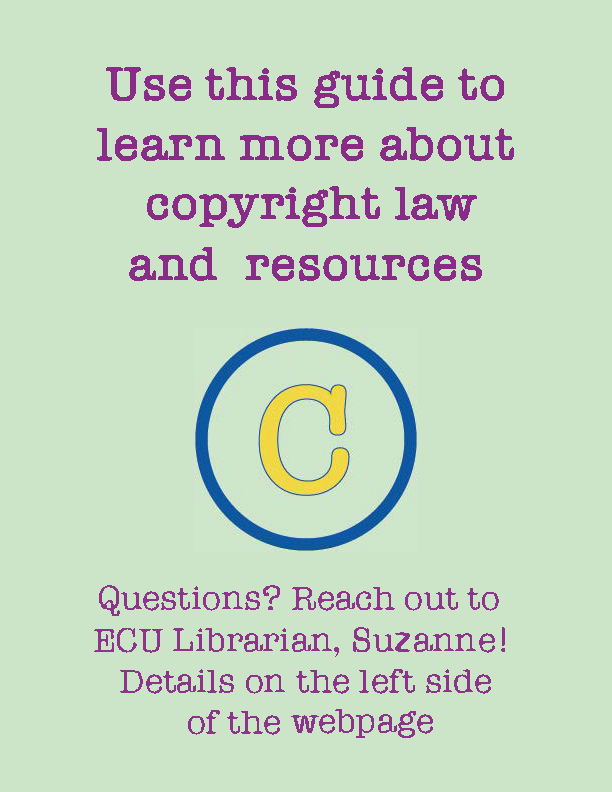 """A digital image on pale green background with purple text reads """"Use this guide to learn more about copyright law and resources. Questions? Reach out to ECU Librarian, Susan! Details on the left side of the webpage."""" At the centre of the image, there is a yellow and blue copyright symbol."""