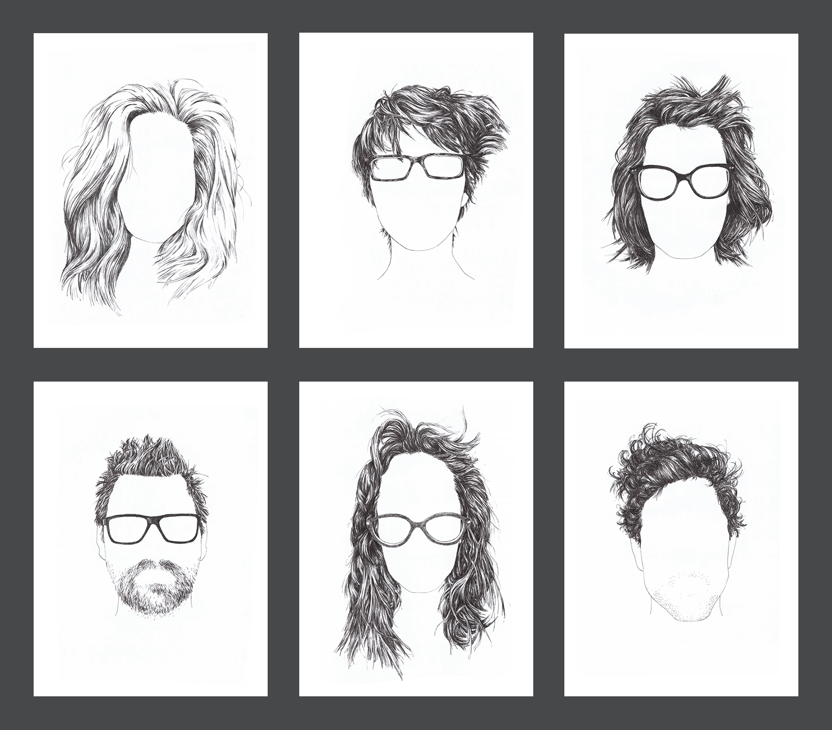 six line drawings of wild morning hair, glasses included but faces blank