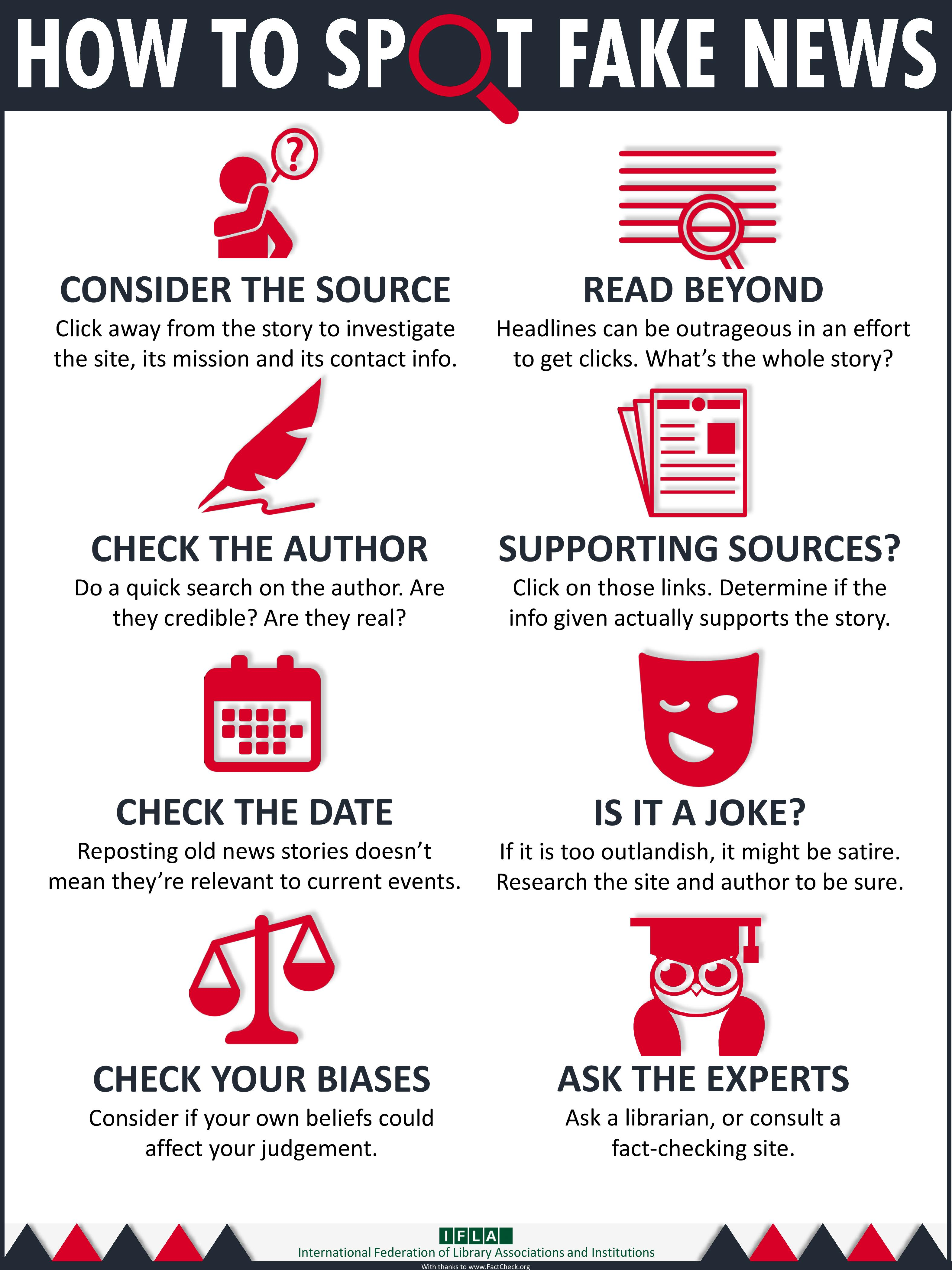 Infographic about how to spot fake health news