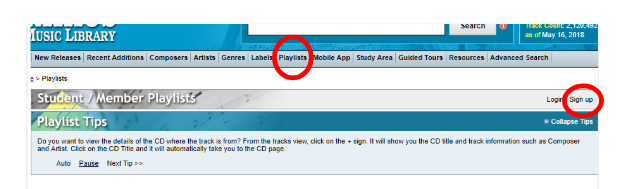 Naxos interface highlighting the sign-up button.