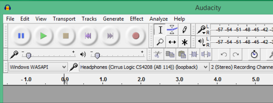 Audacity interface: Windows WASAP dropdown