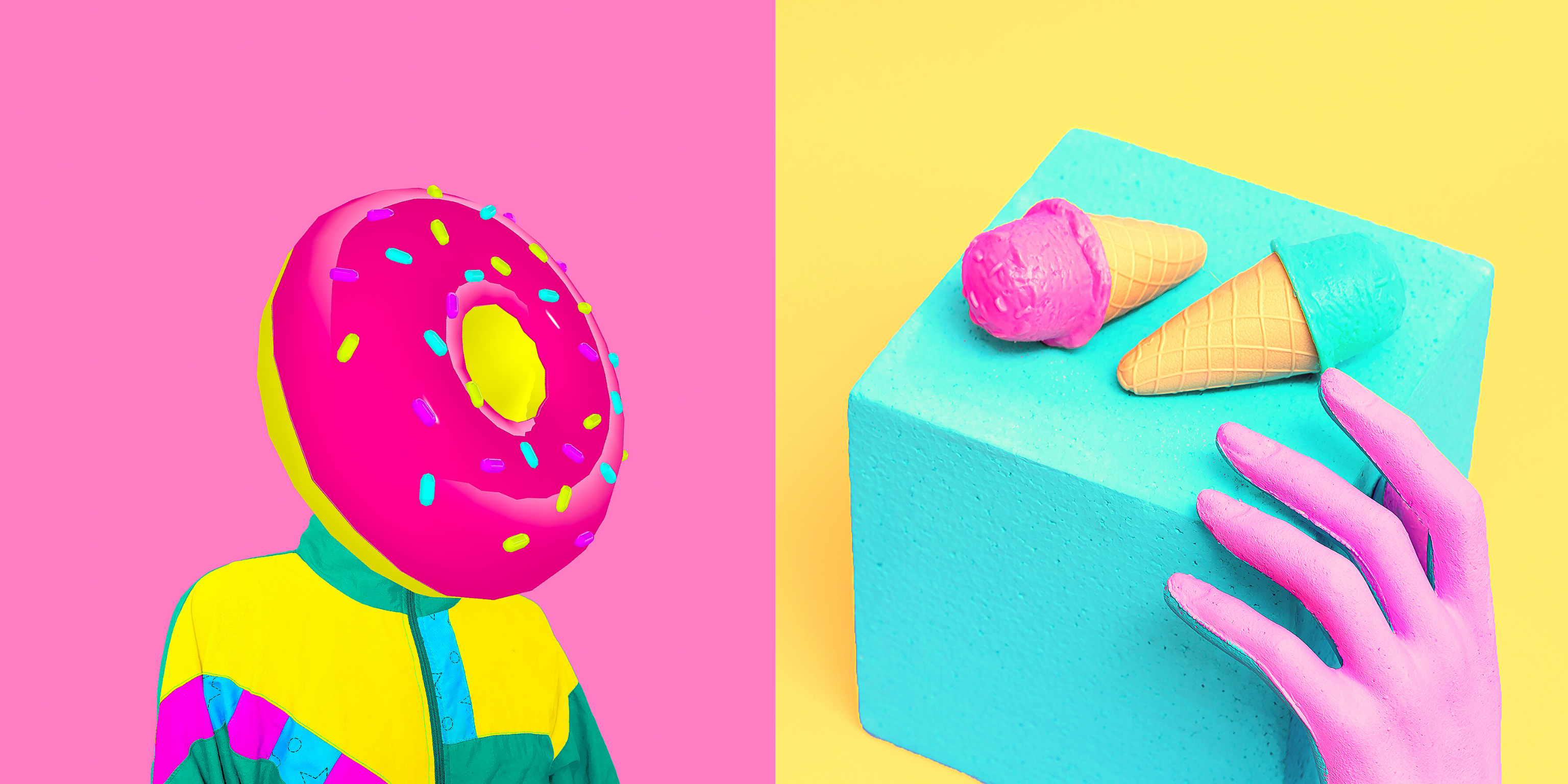 Candy art: a donut for a head, and a hand reaching for candy ice cream cones