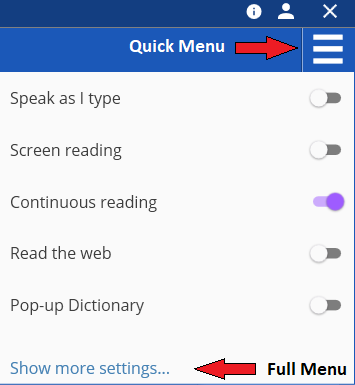 Image showing quick menu options and where to find full menu.