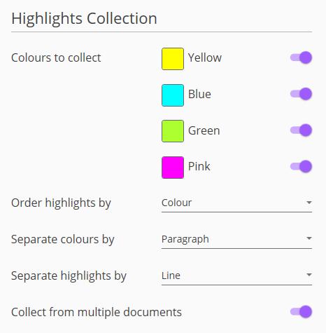 Screenshot of Highlights menu