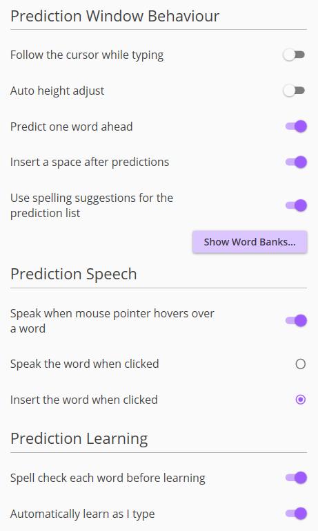 Screenshot of Prediction menu