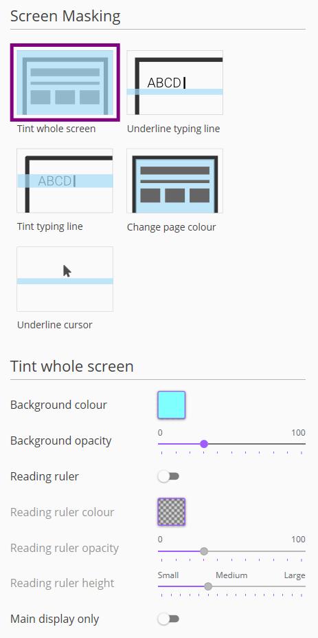 Screenshot of Screen Masking menu