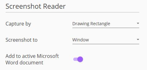 Screenshot of Screenshot Reader menu